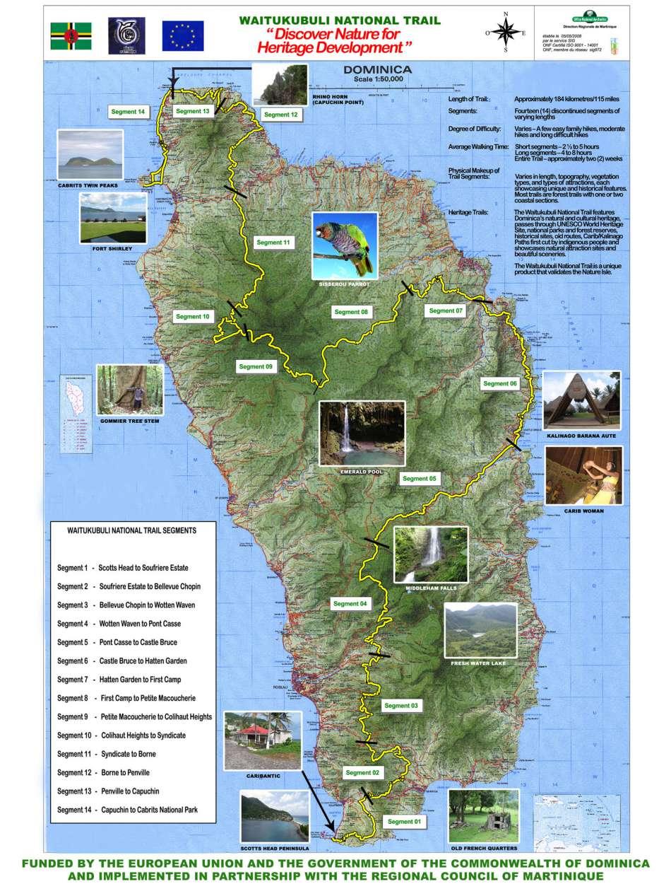 Waitukubuli National Trail | Übersichtskarte | © Dominica Touristboard / avirtualdominica.com